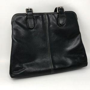 Levenger Black Leather Work Tote